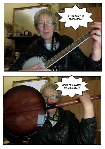 Banjo being played with teeth by middle-aged woman wearing specs