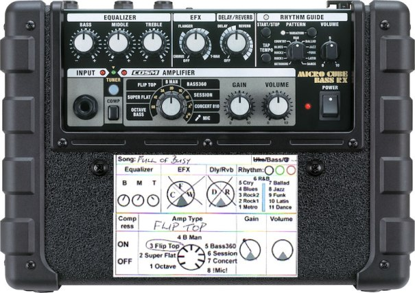2016-07-29 roland micro_cube_bass_rx_top - Full of Busy settings